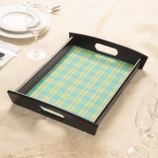 Wooden Serving Tray: Blue, Yellow, Green Plaid Serving Tray