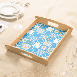Wooden Serving Tray, Daisy Chains Faux Patchwork Serving Tray