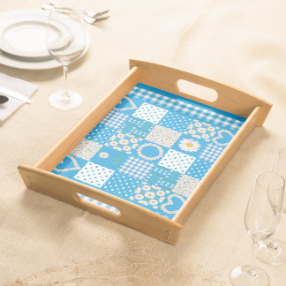 Wooden Serving Tray: Daisychains Faux Patchwork Serving Tray