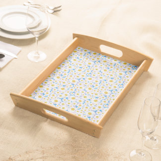 Wooden Serving Tray: Ditzy White Daisies on Blue Serving Tray