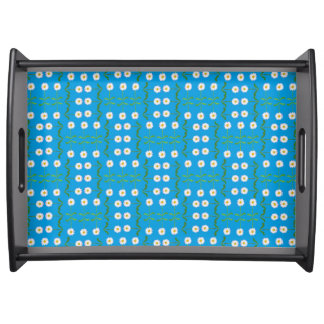Wooden Serving Tray: White Daisies on Teal Serving Tray