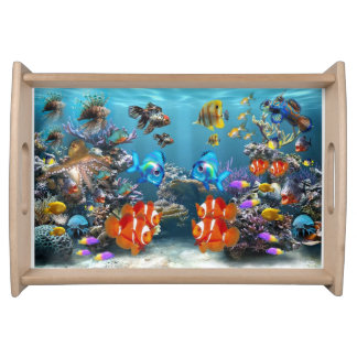 Wooden Serving Tray with tropical fish design