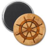 Wooden Ship Wheel 6 Cm Round Magnet