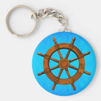 Wooden Ship Wheel Basic Round Button Key Ring