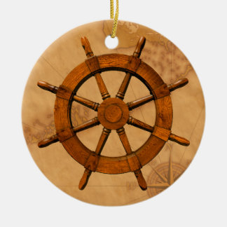 Wooden Ship Wheel Christmas Ornament