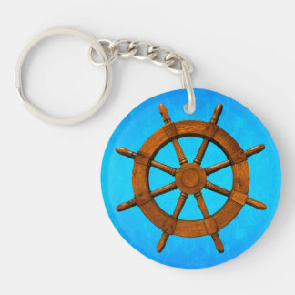 Wooden Ship Wheel Keychain