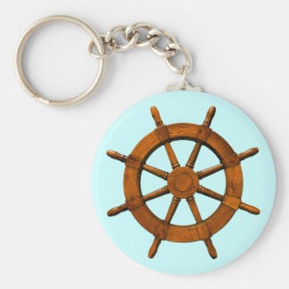 Wooden Ships Helm Basic Round Button Key Ring