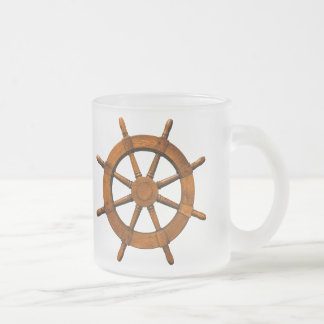 Wooden Ships Helm 10 Oz Frosted Glass Coffee Mug