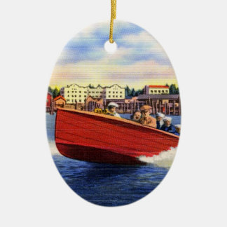 Wooden Speed Boat on Lake Coeur d'Alene, Idaho Ceramic Oval Decoration