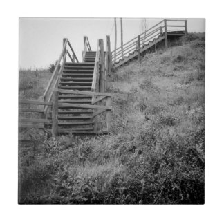 Wooden stairway small square tile