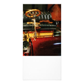 Wooden Steering Wheel on Old-Fashioned Car Custom Photo Card