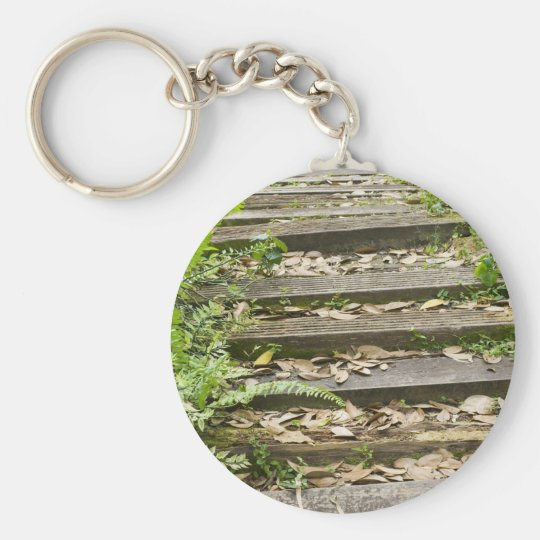 Wooden steps basic round button key ring