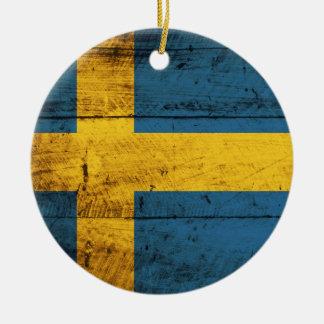 Wooden Sweden Flag Christmas Ornament