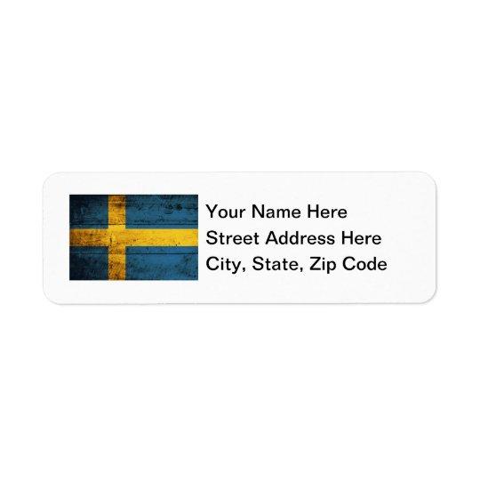 Wooden Sweden Flag Return Address Label