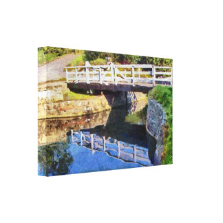 Wooden swing bridge canvas print