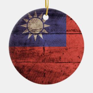 Wooden Taiwan Flag Round Ceramic Decoration