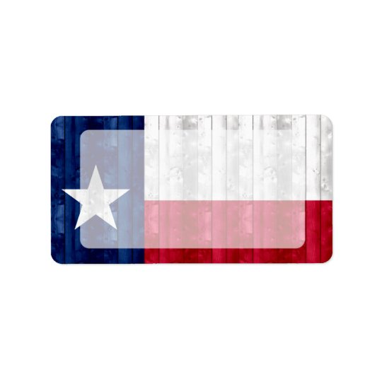 Wooden Texan Flag Label