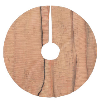 Wooden texture brushed polyester tree skirt
