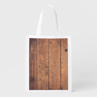 Wooden texture reusable grocery bag