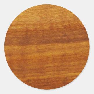 wooden texture round sticker