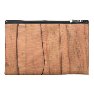 Wooden texture travel accessory bag