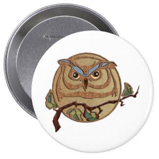 Wooden Textured Owl Logo 10 Cm Round Badge