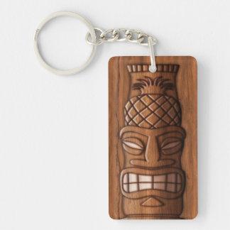 Wooden Tiki Mask Double-Sided Rectangular Acrylic Key Ring