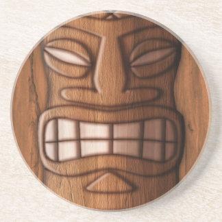 Wooden Tiki Mask Drink Coasters