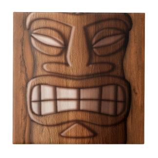 Wooden Tiki Mask Small Square Tile