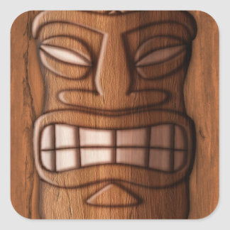Wooden Tiki Mask Square Stickers