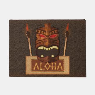 Wooden Tiki Mask Vintage Retro Aloha Hawaiian Doormat