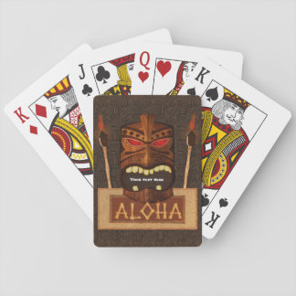 Wooden Tiki Mask Vintage Retro Aloha Hawaiian Playing Cards