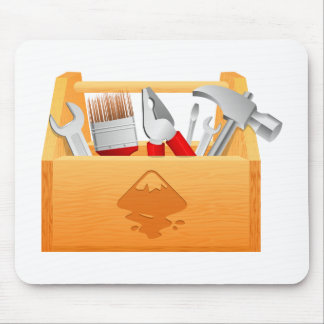 Wooden Toolbox with Tools Mousepad