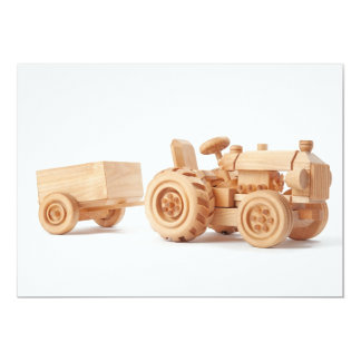 "Wooden tractor 5"" x 7"" invitation card"