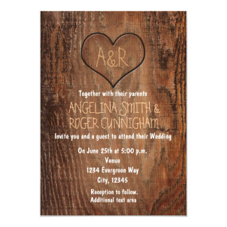 Wooden Tree Carved Heart Rustic Wedding Invitation
