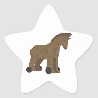 Wooden Trojan Horse Star Sticker
