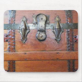 Wooden Trunk Chest with Buckles Mouse Pad