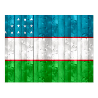 Wooden Uzbek Flag Postcard