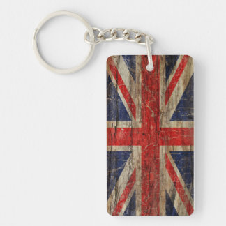 Wooden Vintage Union Jack Flag Key Ring