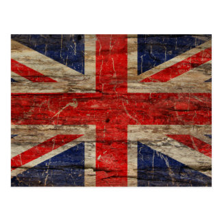 Wooden Vintage Union Jack Flag Postcard