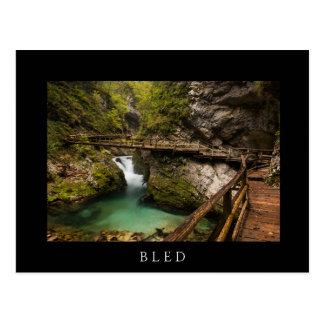 Wooden walkway through Vintgar Gorge canyon Postcard