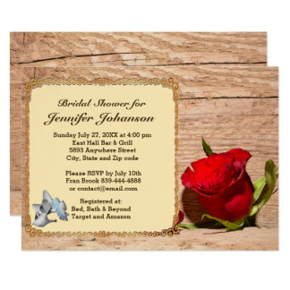 Wooden Wall & Red Rose Bridal Shower Invitation