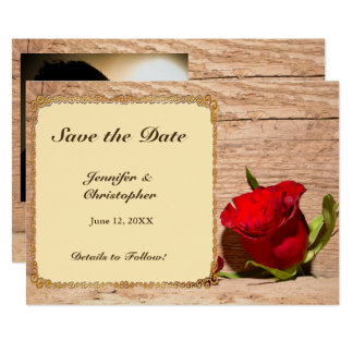 Wooden Wall & Red Rose Save the Date Card