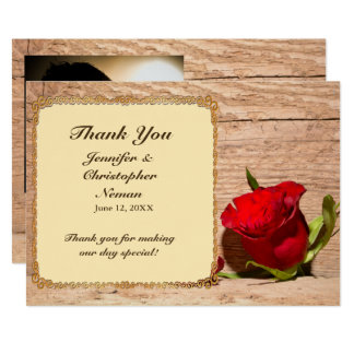 Wooden Wall & Red Rose Thank You Card