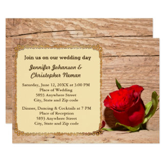 Wooden Wall & Red Rose Wedding Invitation