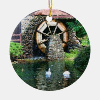 Wooden Water Wheel Duck Pond Ornament
