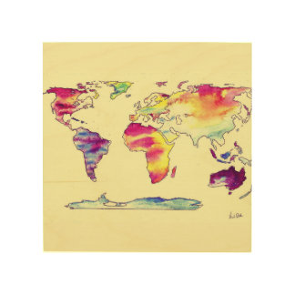 Wooden Watercolour map of world Wood Wall Art