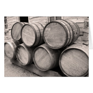 Wooden Whiskey Barrels Greeting Card