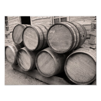 Wooden Whiskey Barrels Poster