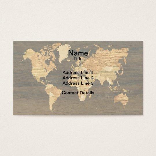Wooden World Map Business Card